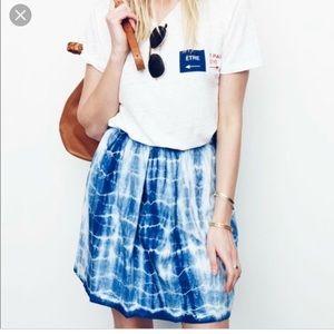 Madewell Indigo Shibori linen skirt size 2